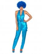 70er Jahre Disco Popstar Damenkostüm blau