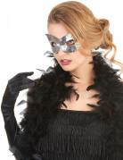 Venezianische Augenmaske mit Pailletten silber