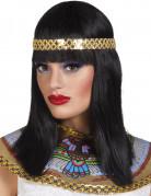 Kleopatra Perücke Schulterlang mit Stirnband Kostümzubehör schwarz-gold