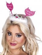 Teufelin Tiara Good Girl Haarreif mit Herzen pink-weiss