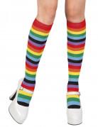 Strümpfe Kostümzubehör Regenbogenfarben bunt 42 cm hoch
