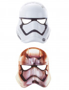 Star Wars VII Papp-Masken Lizenzartikel Stormtrooper oder Captain Phasma 6 Masken 20 x 22 cm