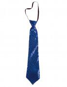 Pailletten-Krawatte Kostümzubehör blau ca. 38cm lang