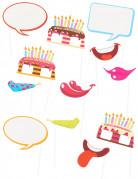 Photobooth Accessoire Set - Geburtstag 12-teilig bunt