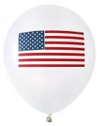 Luftballons USA Flagge Raumdekoration 8 Stück weiß-blau-rot