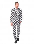 Suitmeister Anzug Schachbrett-Muster weiss-schwarz