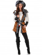 Elegante Piratin Damenkostüm braun-weiss