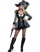 Deluxe Piratin der Weltmeere-Damenkostüm Freibeuterin grau-schwarz-gold