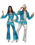 70er Jahre Disco Kostüm-Set für Paare blau-silber