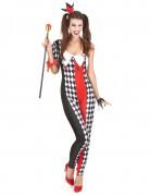 Süsse Harlekin-Frau Damenkostüm Clownfrau schwarz-rot-weiss