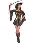 Verruchte Piratin Seeräuberin-Kostüm mit Ornamenten schwarz-gold