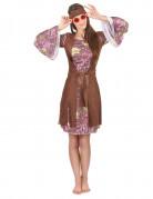 Hippie-Damenkostüm mit Fransenweste braun-bunt