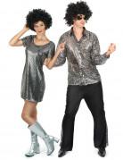 Disco Gruppenkostüm-Set für Paare silber-schwarz