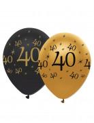 Geburtstagsballons 40 Jahre Jubiläums-Luftballons 6 Stück gold-schwarz 30cm