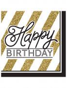 Geburtstagsservietten Happy Birthday 16 Stück gold-schwarz-weiss 33x33cm