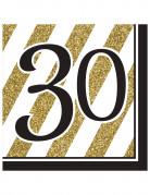 Geburtstagsservietten 30 Jahre Jubiläumsservietten 16 Stück gold-schwarz-weiss 33x33cm