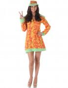 Hippie-Damenkostüm orange-gelb-grün
