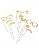 Fotoaccessoire-Set Brillen Mund und Bärte 9-teilig gold glitzer