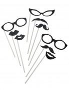 Fotoaccessoire-Set Brillen Mund und Bärte 9-teilig schwarz glitzer