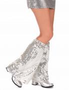 Disco Beinstulpen mit Pailletten für Erwachsene silber