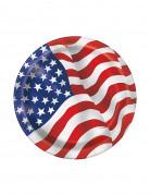 Pappteller USA Design 8 Stück klein