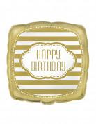 Quadratischer Luftballon Schriftzug Happy Birthday weiss-gold 45 x 45cm