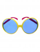 Runde Disco Partybrille gelb-pink