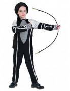 Kämpferin Kinder Kostüm schwarz-weiss