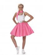 50er-Jahre Rockabilly Petticoat-Rock mit Halstuch pink-weiss