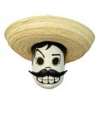 Tag der Toten Mexikaner-Maske Calaveritas weiss-schwarz-beige