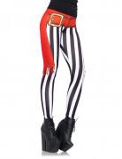 Sexy Piraten Leggings für Damen weiss-rot-schwarz