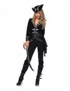 Elegante Piraten-Kapitänin Damenkostüm schwarz