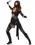 Gefährliche Ninja Kriegerin Damenkostüm Asia schwarz-gold