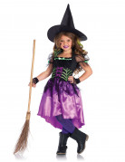 Elegante Hexe Kinderkostüm lila-schwarz-grün