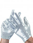 Pailletten Handschuhe Popstar silber