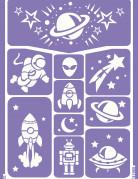 Astronauten-Schablonen Schminkschablonen Weltall 10 Stueck lila 25x15cm