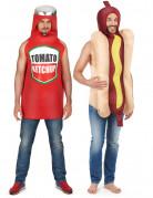 Hot-Dog Ketchup-Flasche Paarkostüm für Erwachsene bunt