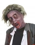 Zombie Halloween-Strumpfmaske mit Perücke grau-rot