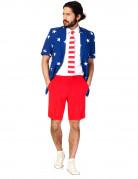Opposuits Sommeranzug für Herren Amerika-Anzug blau-weiss-rot