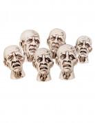 Schaurige Zombie Köpfe Halloween Dekoration 6 Stück 8 x 5 cm