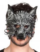 Werwolf Halbmaske Halloween für Erwachsene schwarz-weiss