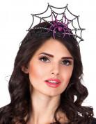 Glitzer Halloween Krone mit Spinne schwarz-pink