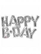 Folien-Luftballon Happy Birthday silber 76x48cm