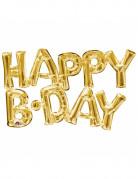 Happy B-Day Aluminiumluftballons Buchstaben gold