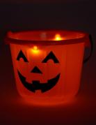 LED Halloween Kürbis Eimer für Süßigkeiten orange-schwarz