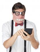 Nerd Halbmaske mit Brille beige-schwarz