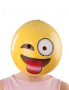 Maske Smiley mit Zunge gelb