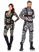 Militär-Paarkostüm Erwachsene Karneval blau-grün-braun