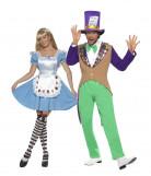 Hutmacher und Wunderland-Paarkostüm für Damen und Herren Karneval bunt