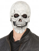 Latex Maske Totenschädel Halloween für Erwachsene weiss-schwarz